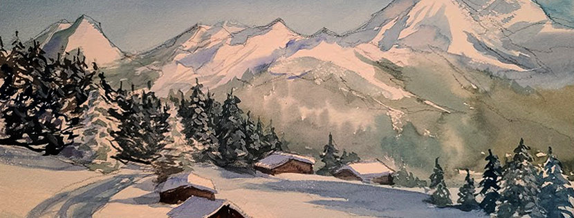 "Original Watercolor Demo ""Winter Wonderland"""