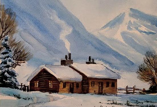 "Original Watercolor Demo ""Mountain Cabin"""