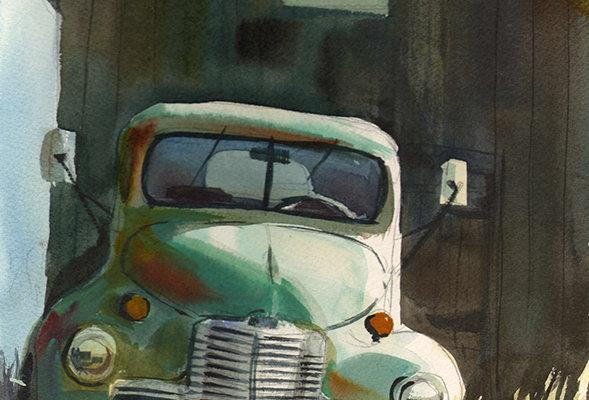 "Original Watercolor Demo ""Truckin"""