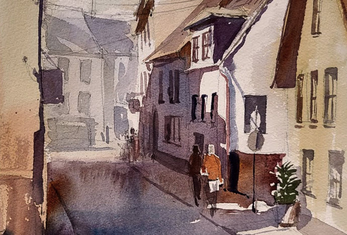 "Original Watercolor Demo ""German Village"""