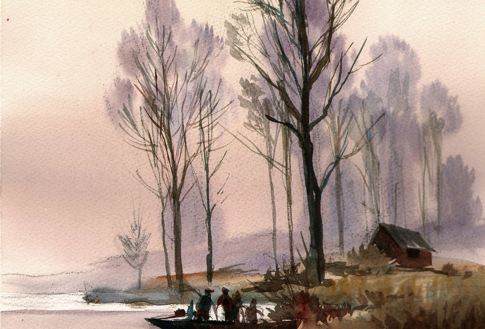 """Original Watercolor Demo """"Early Morning Catch"""""""