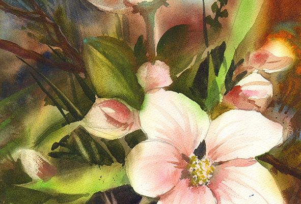 """Original Watercolor Demo """"Flowering Bliss"""""""