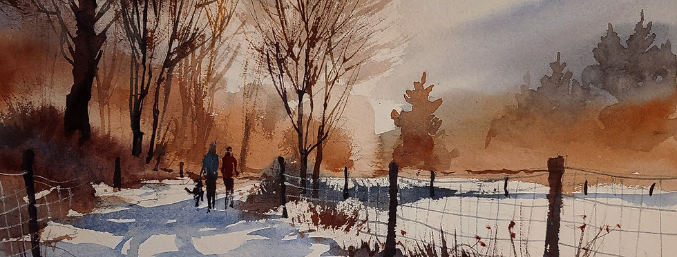 "Original Watercolor Demo ""Walking the Dog"""