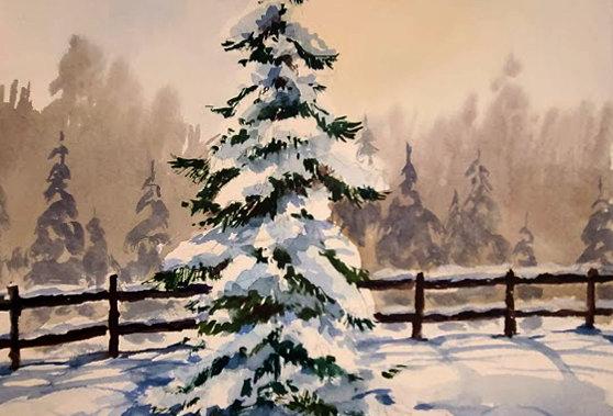 "Original Watercolor Demo ""Winter Wonderland"""
