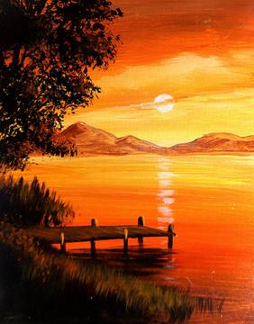 11 sunset grass lake
