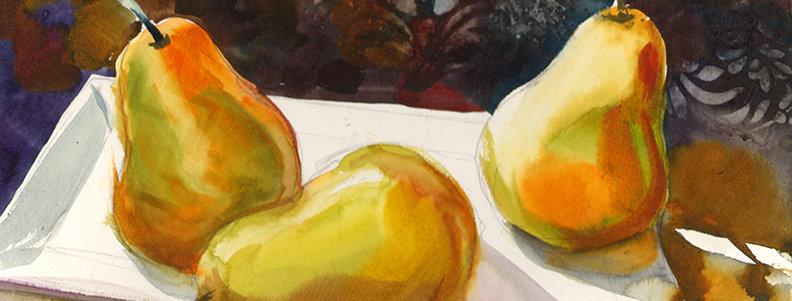 """Original Watercolor Demo """"Pears"""""""
