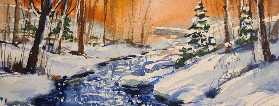 """Original Watercolor Demo """"Nippersink Creek"""""""