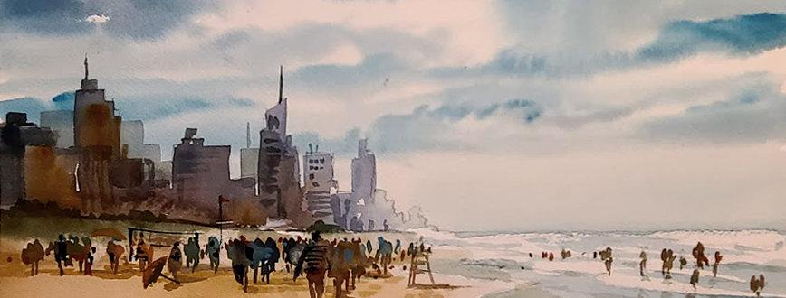"Original Watercolor Demo ""Beach Fun"""