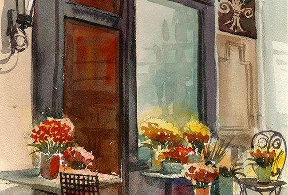 "Original Watercolor Demo ""Flowering Cafe"""