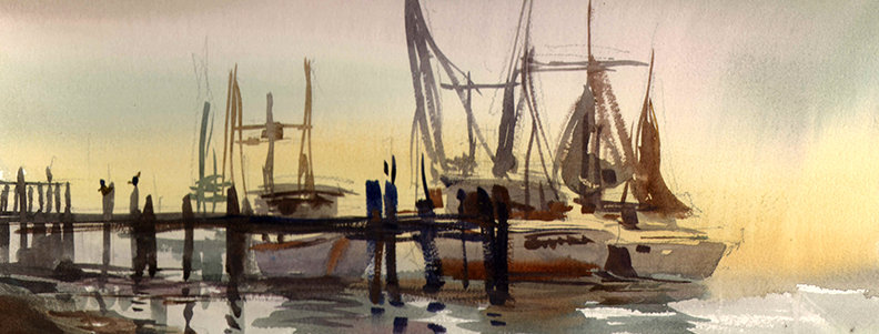 "Original Watercolor Demo ""Jacksonville Boats"""