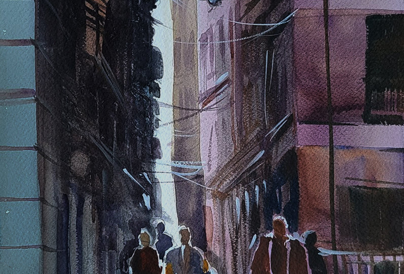 """Original Watercolor Demo """"City Streets"""""""
