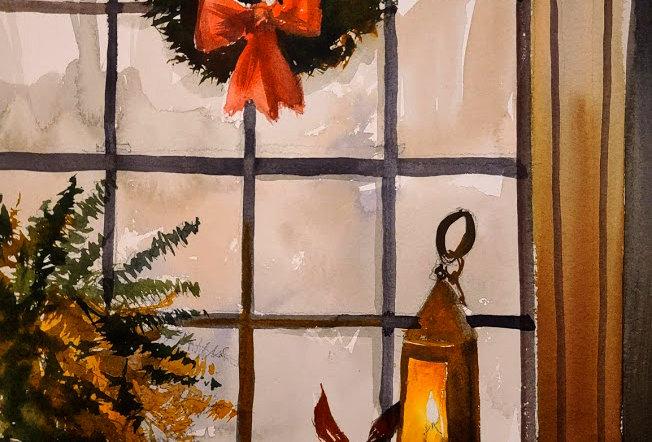 "Original Watercolor Demo ""Candlelight Holidays Window"""