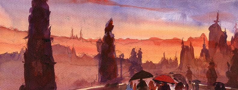"""Original Watercolor Demo """"Charles Bridge Prague"""""""