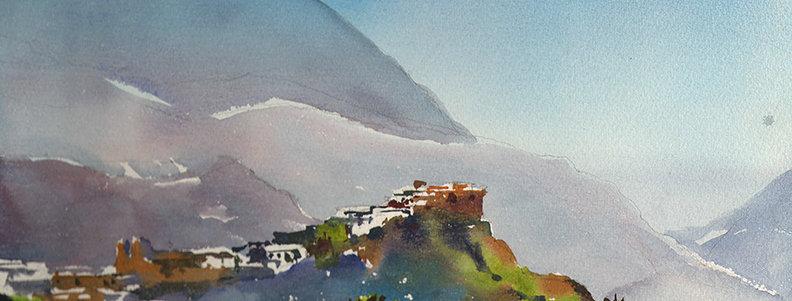 """Original Watercolor Demo """"Mountain Village"""""""