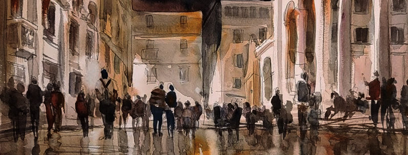 "Original Watercolor Demo ""Euro Street"""