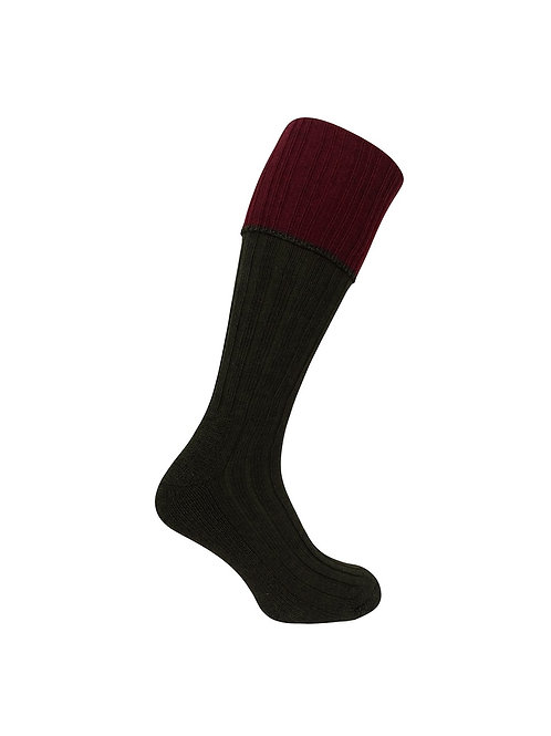 Hoggs of Fife Contrast Turnover Top Stocking (Single Pack)
