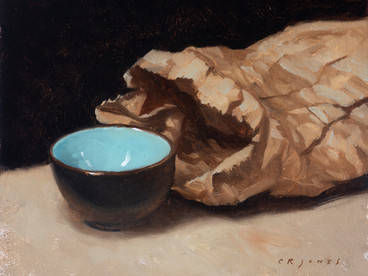 Blue Bowl and Paper Bag