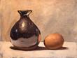 Brown Egg and Black Vase