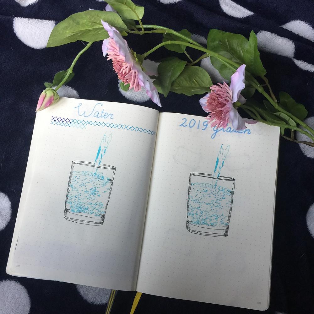 bullet journal water tracker