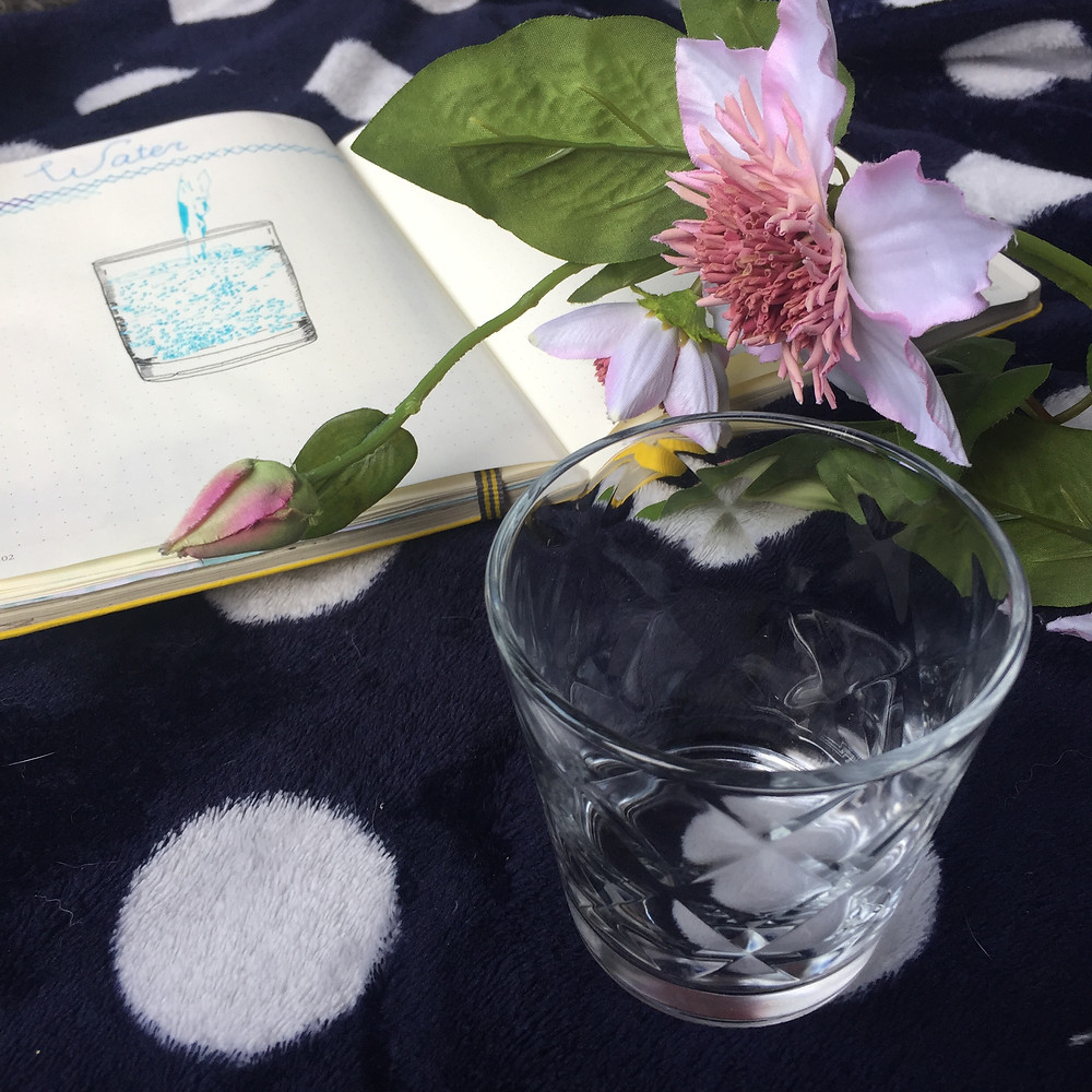 waterglass with bulletjournal