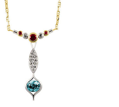 Gold pendant white gold ruby diamond blue zircon