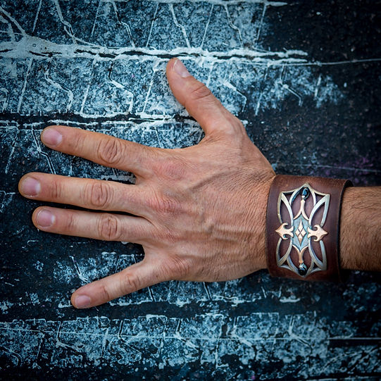 leather cuff the warrior rose gold onyx.