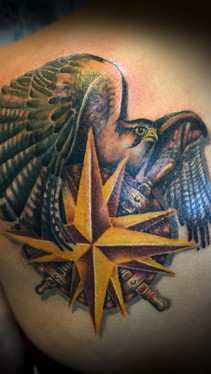 dustin nelson / falcon and compass tattoo / tattoo shop near me / tattoo shop in grand junction