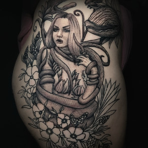 neo-traditional black and grey poison ivy and snake tattoo /Jacob James / tattoo shops near me / tattoo artists in Grand Junction / tattoo shops in Grand Junction