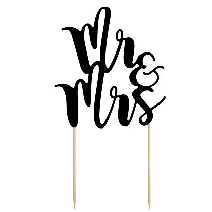 PartyDeco Cake Topper Mr & Mrs - Schwarz
