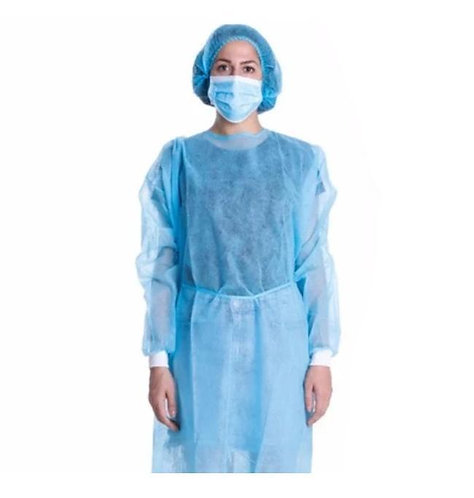 surgical gown/ disposable/ level 2 / PP+PE / 45 grams / knitted cuff/blue/yellow