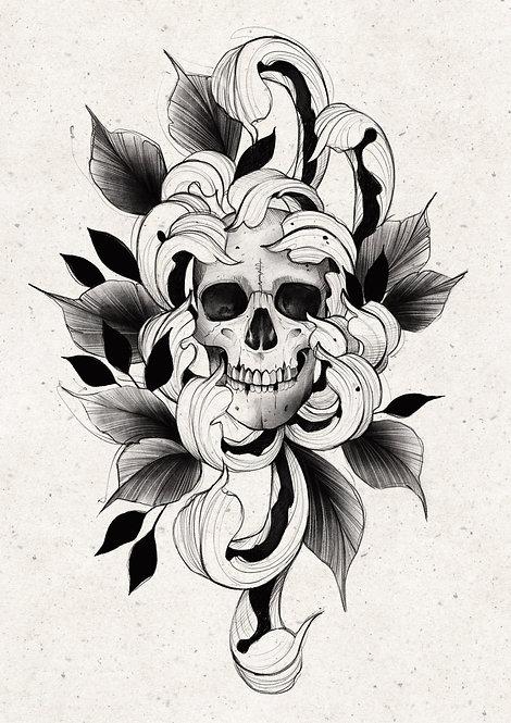 skull & chrysanthemum