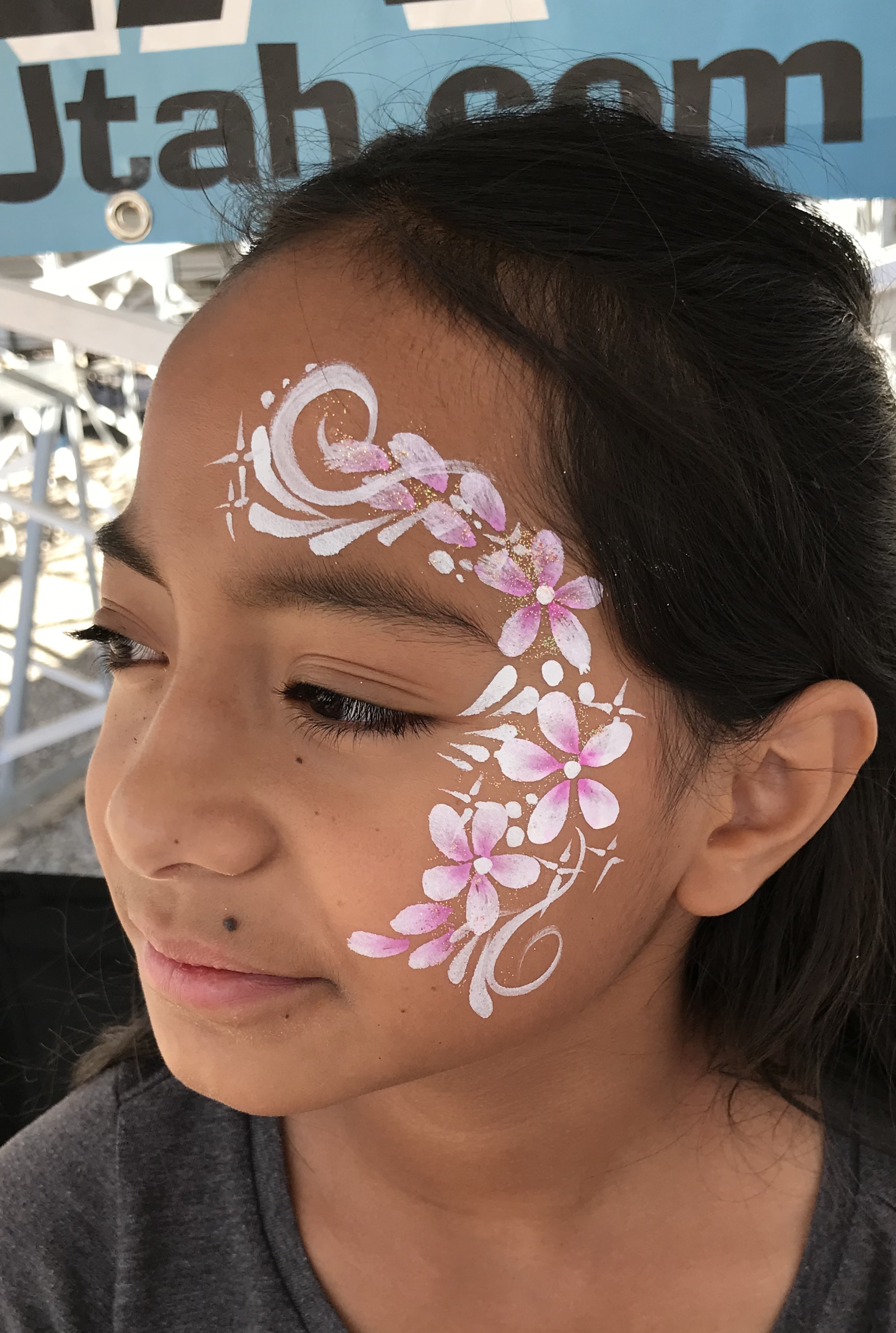 Floral face paint design