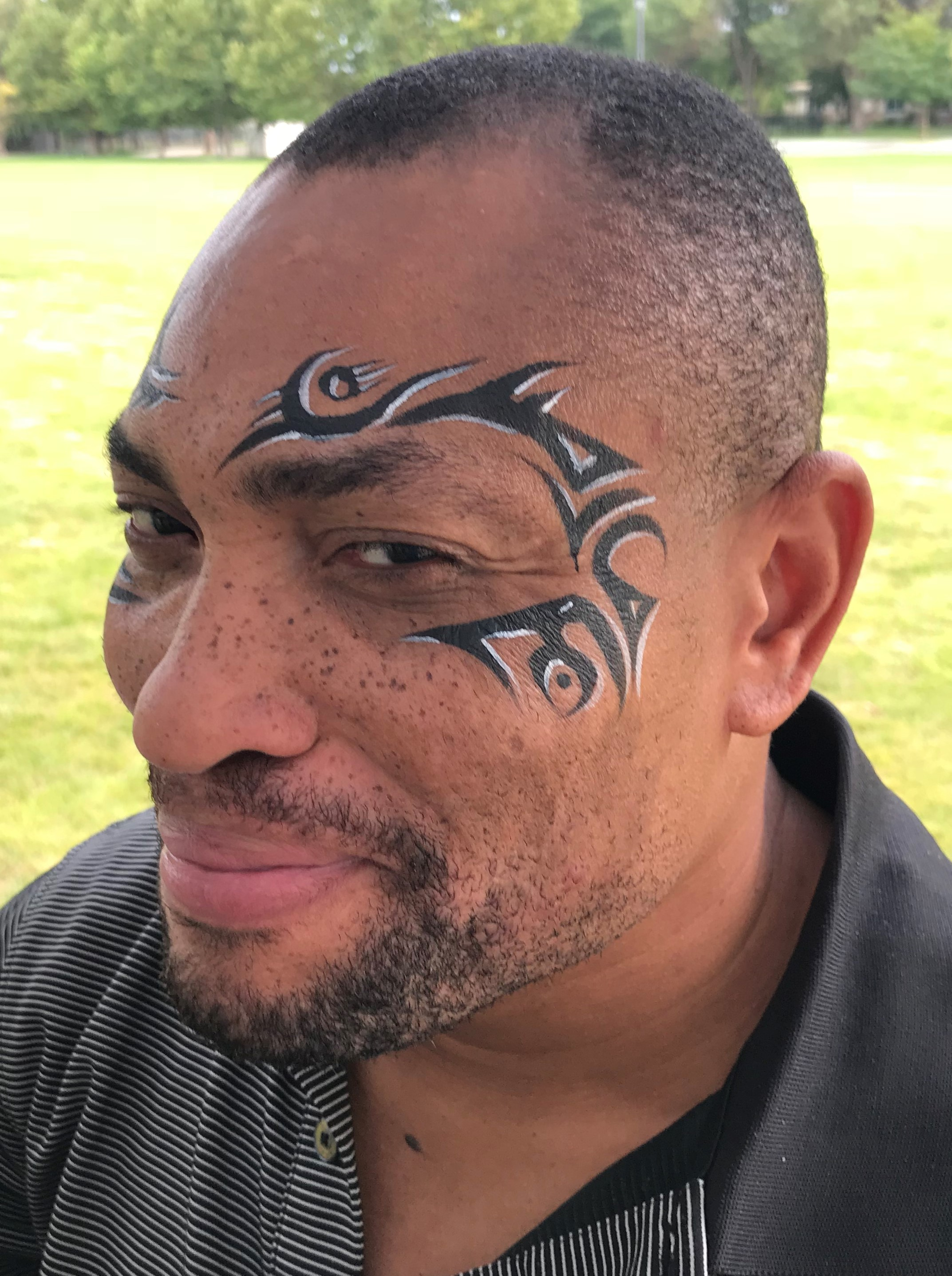 Tribal tattoo face paint