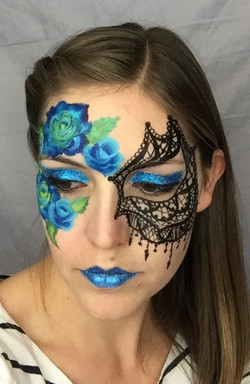 Blue roses and lace mask