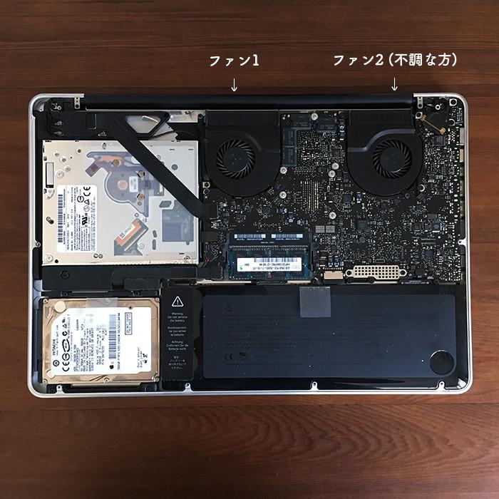 MacBook Pro (15-inch, Mid 2010)_裏蓋開けたところ