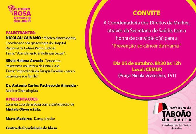 Outubro Rosa, prevenção ao câncer de Mama em Taboão da Serra.