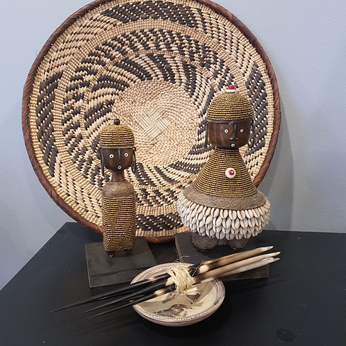 Basket with Namji dolls and Porcupine Quill set