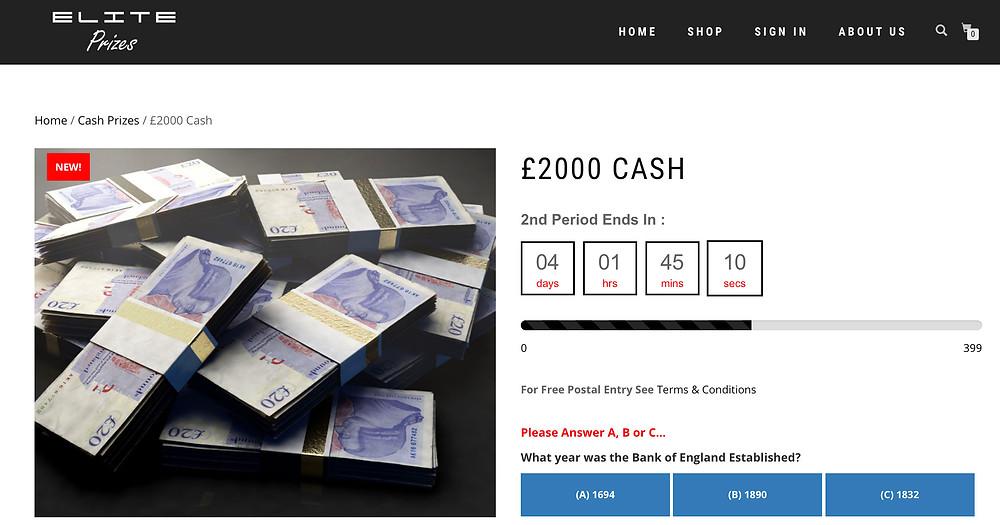 elite prizes raffle competition win money cash