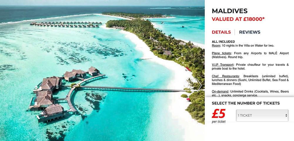 holiday raffle win a holiday to Maldives bnget