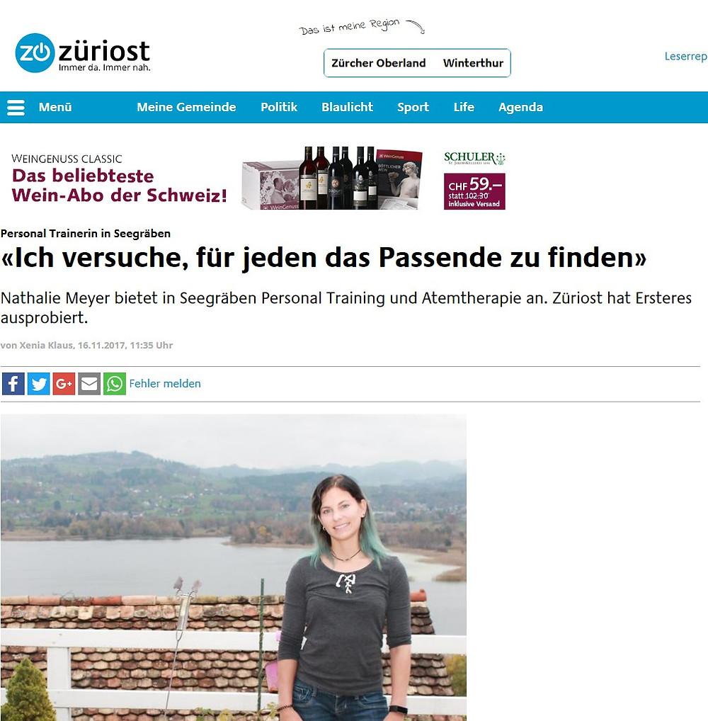 Zeitungsbericht im Züri Oberländer über Nathalie Meyer bewegt Personal Training