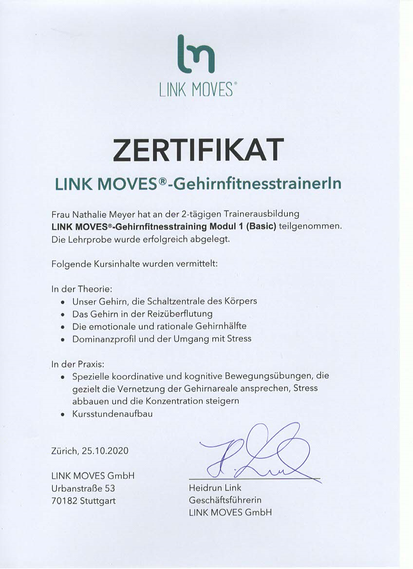 LINK MOVES Gerhirnfitness Trainerin Zertifikat