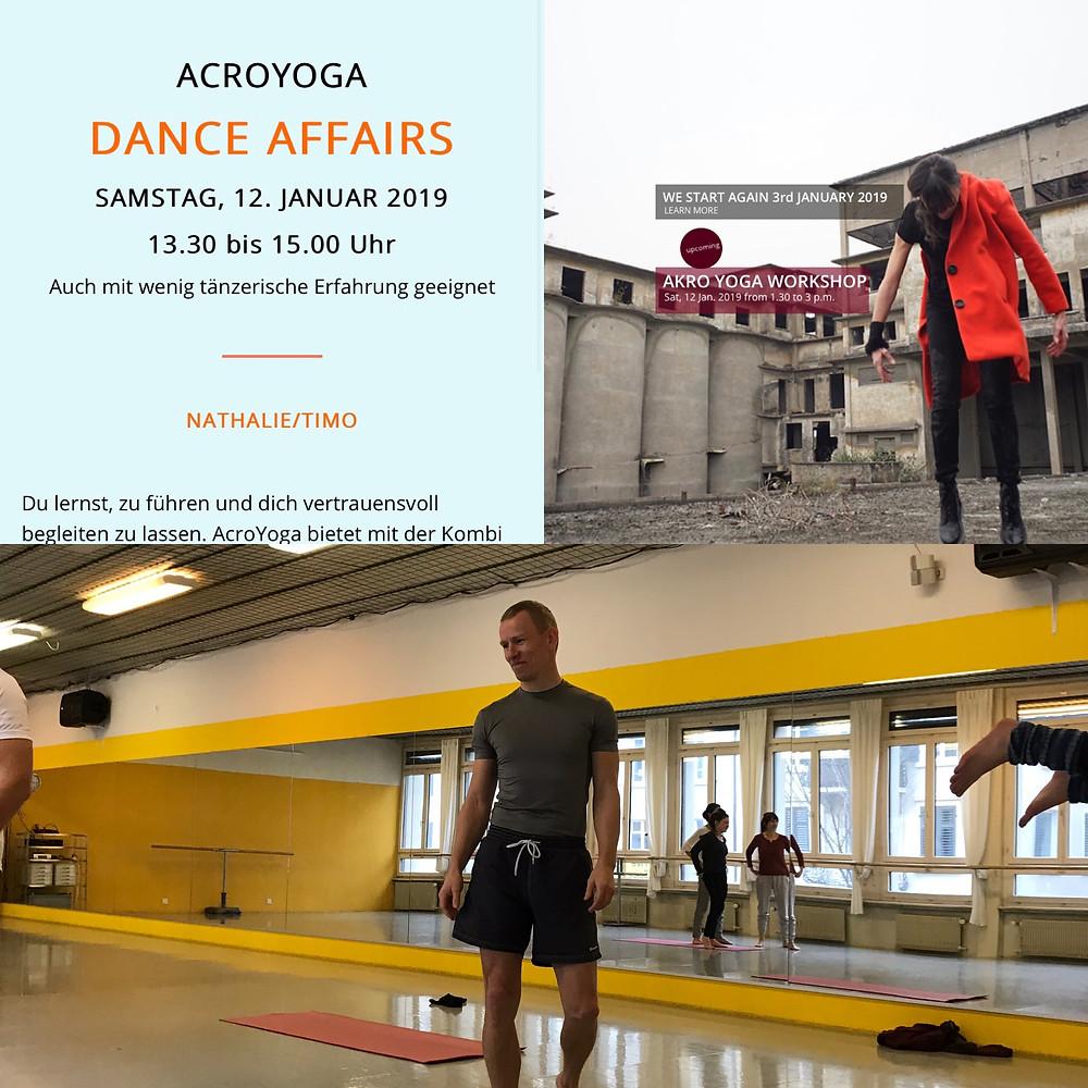 AcroYoga Workshop im Offdance in Zürich mit Nathalie Meyer bewegt und Timo Leikola