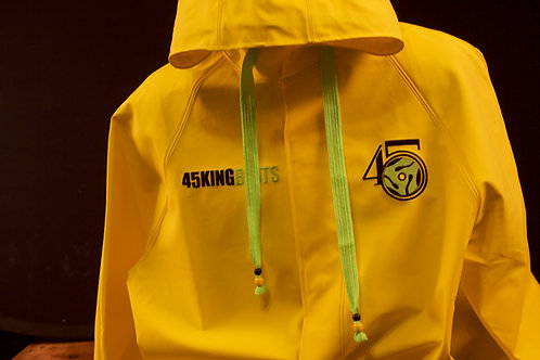 Yellow Raincoat Hoodie with Lime logo