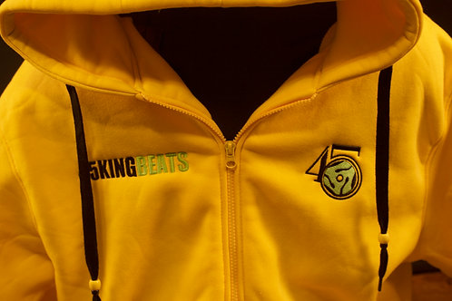 Yellow heavy Hoodie with Lime logo