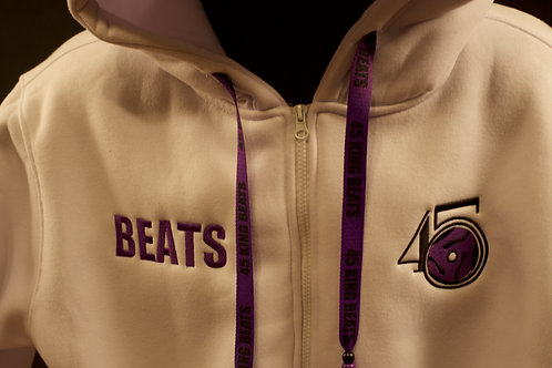 White heavy Hoodie with Purple logo