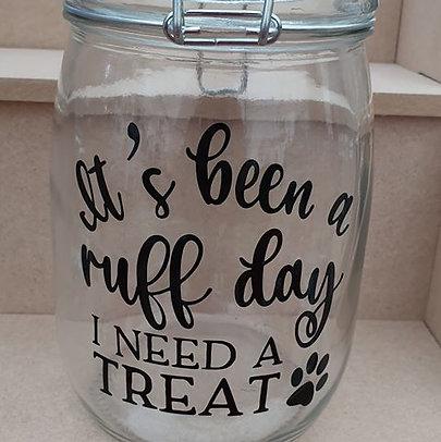 """Dog Treat Jar """"Ruff Day"""""""
