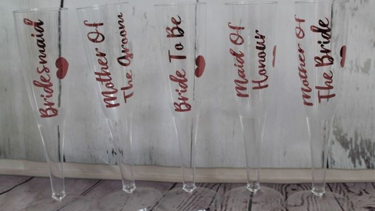 1 x Job Role Wedding PLASTIC Champagne Glasses