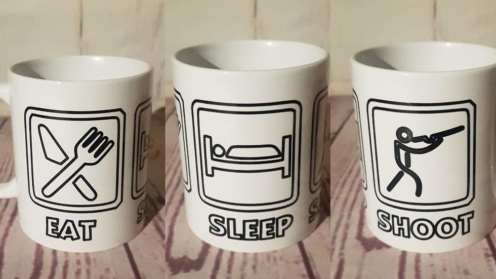 """""""Eat, Sleep, Shoot"""" mug"""