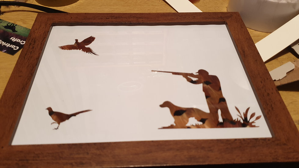 Shoot Scene with Pheasants  Feather Silhouette