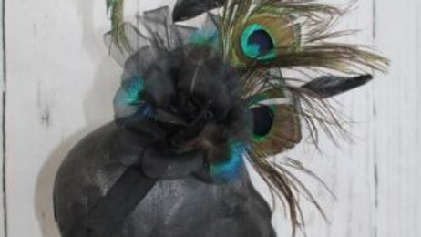 Peacock Left Curl Feather Facinator